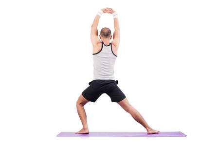 Man doing exercises on white photo