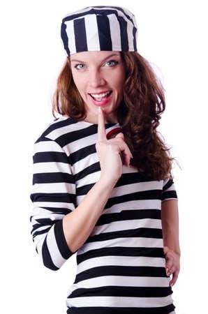 Convict criminal in striped uniform Stock Photo - 18614928
