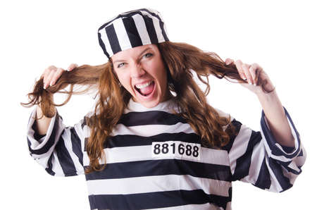 Convict criminal in striped uniform Stock Photo - 18680286