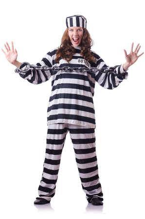 Prisoner in striped uniform on white Stock Photo - 18679631