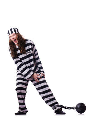 Prisoner in striped uniform on white Stock Photo - 18679295