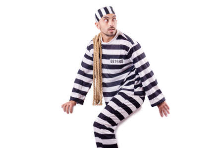 Convict criminal in striped uniform Stock Photo - 18679453