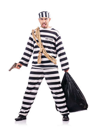 Convict criminal in striped uniform Stock Photo - 18679848