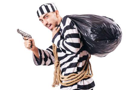 Convict criminal in striped uniform photo