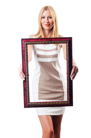 Woman with picture frame on white Stock Photo - 18680046