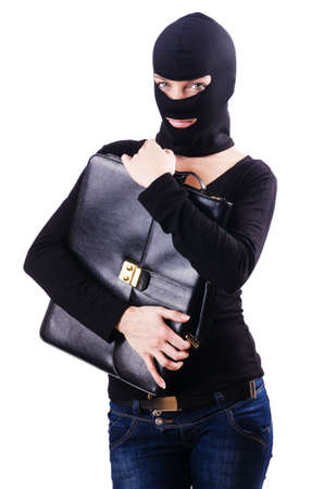 espionage: Industrial espionage concept with person in balaclava Stock Photo