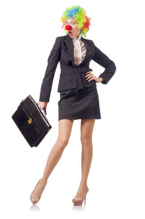 Woman clown in business suit Stock Photo - 18679528