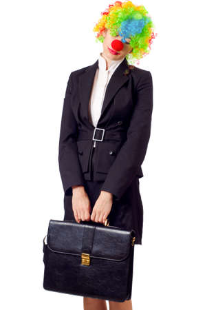 Woman clown in business suit Stock Photo - 18680087
