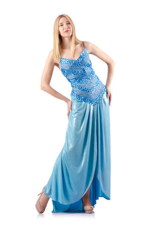 Attractive woman in blue dress on white Stock Photo - 18679852