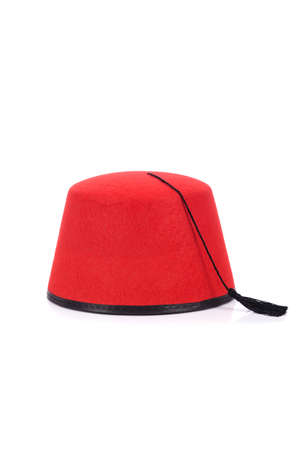 fez: Red fez hat isolated on the white
