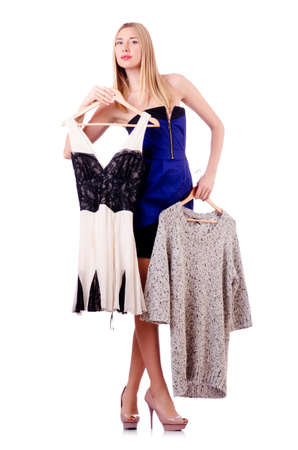 Woman trying new clothing on white Stock Photo - 18680023