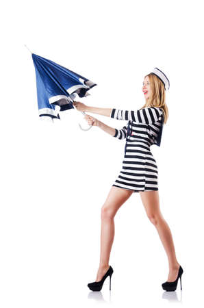 Woman sailor isolated on the white background photo