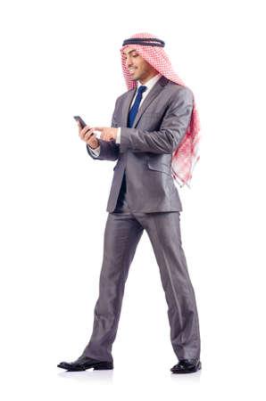 hombre arabe: Hombre de negocios árabe aislado en blanco Foto de archivo