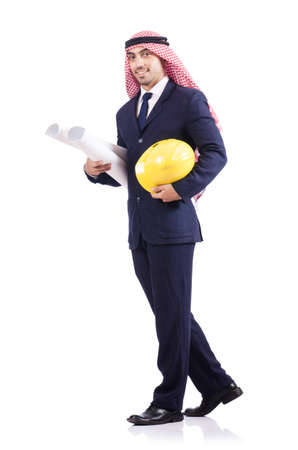 Arab engineer with drawings on white Stock Photo - 18610981