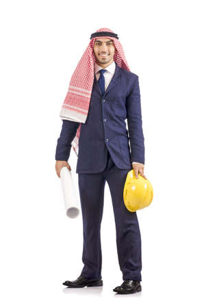 Arab engineer with drawings on white Stock Photo - 18679871