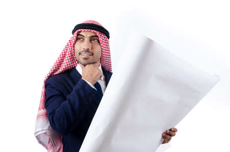 Arab engineer with drawings on white Stock Photo - 18679935