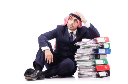 Arab businessman with many folders on white Stock Photo - 18680070