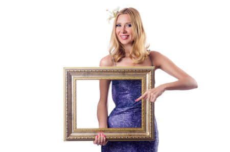 Woman with picture frame on white Stock Photo - 18680061