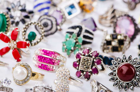 Collection of jewellery rings on white Stock Photo - 18744757