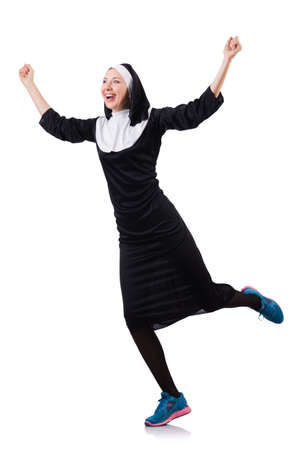 Nun isolated on the white background Stock Photo - 18802466