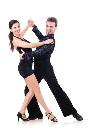 Pair of dancers isolated on the white Stock Photo