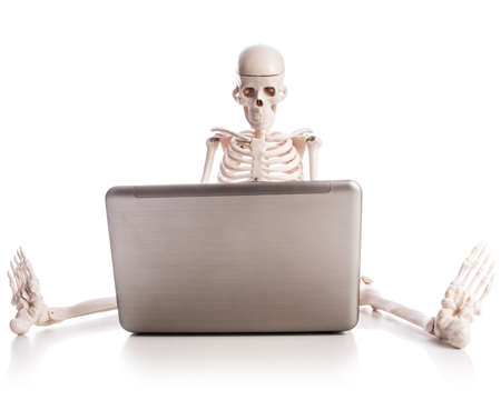Skeleton working on laptop Stock Photo - 18744354