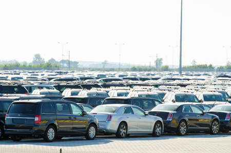 TUSCANY, ITALY - 27 June: New cars parked at distribution center in Tuscany, Italy. This one of biggest distribution centers in Italy. Stock Photo - 18749724