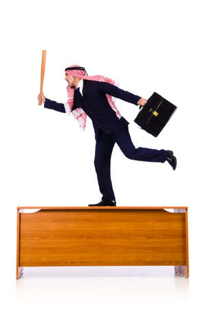 Arab businessman hitting with baseball bat Stock Photo - 18802690