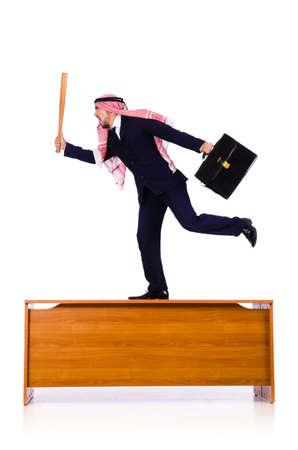Arab businessman hitting with baseball bat Stock Photo - 18802690