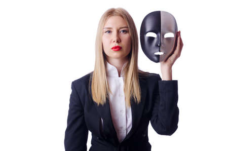 Woman with mask in hypocrisy concept Stock Photo - 18802861