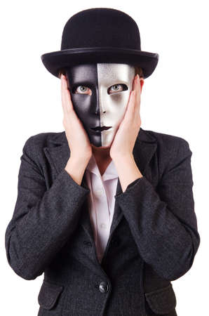 Woman with mask in hypocrisy concept Stock Photo - 18803305
