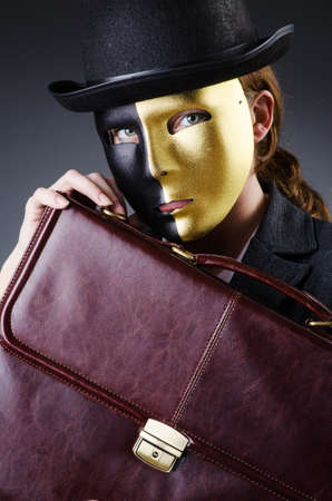 Woman with mask in hypocrisy concept Stock Photo - 18745013