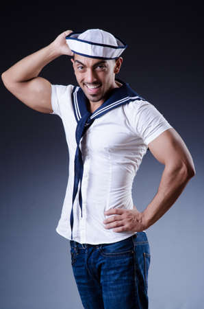 Male sailor in studio shooting photo