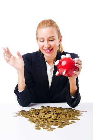 Woman breaking piggy bank for savings Stock Photo - 18802998