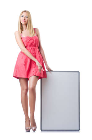 Woman in pink dress with blank board photo