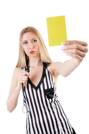 Woman judge isolated on the white photo