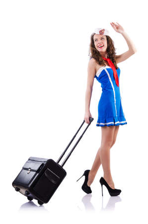 Woman sailor with suitcase on white Stock Photo - 18802580