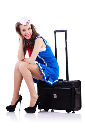 Woman sailor with suitcase on white Stock Photo - 18802854