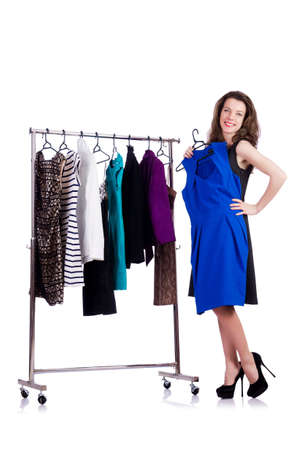 Woman trying new clothing on white Stock Photo - 18802825