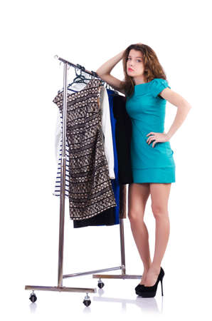 Woman trying new clothing on white Stock Photo - 18802805