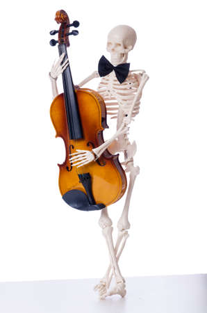 Skeleton playing violin isolated on the white photo