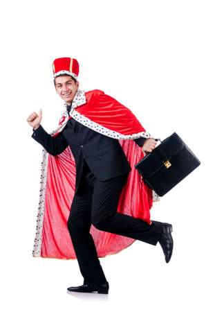 Businessman playing king isolated on white photo