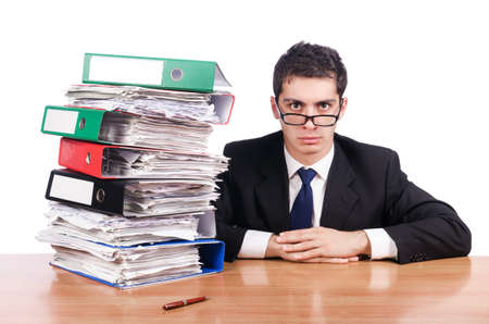 Young busy businessman at his desk Stock Photo - 18803044