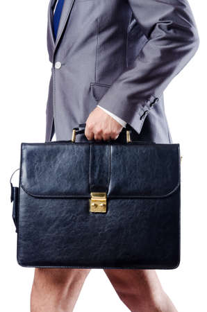 Nude businessman with briefcase on white Stock Photo - 18744986