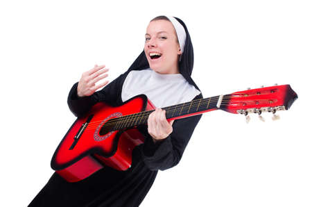 Nun playing guitar isolated on white Stock Photo - 18802693