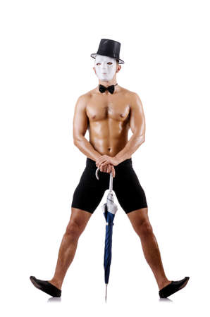 Naked muscular mime isolated on white Stock Photo - 18802555