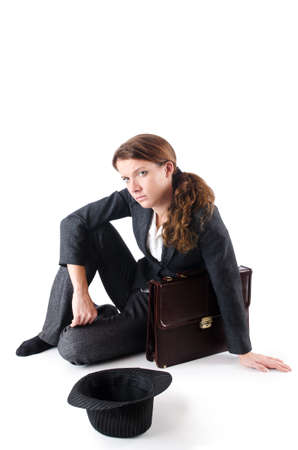 Businesswoman begging some money on white Stock Photo - 18802859