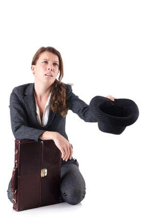 Businesswoman begging some money on white Stock Photo - 18802863