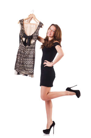 Young woman trying new clothing on white photo
