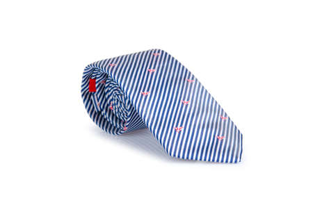 Elegant silk male tie ( necktie ) on white photo